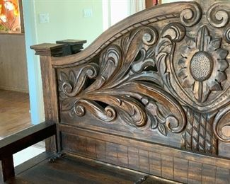 Huge Rustic Hand Carved Entryway Bench w/ Storage	60x90x27in	HxWxD