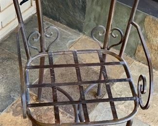 Heavy Scroll Iron & Stone Top Patio Table w/ 4 Chairs	Table: 30in H x 60in Diameter Chair: 35x21x20 seat height: 19in	HxWxD