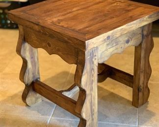 Rustic Mexico  End Table #1	24x24x24in	HxWxD