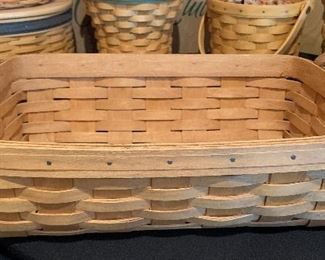 Longaberger Leather handle  basket	14x10x4in	HxWxD