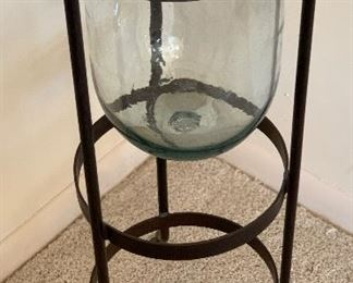 Wrought Iron & Glass Pedestal Vase	27in x 11in diameter