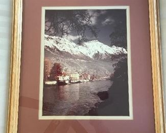 Framed Photograph of Snowcap mountains	22.5x19.5