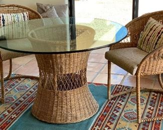 Wicker Rattan Bistro Set 2 Chairs & Table	28in H x 44in diameter Chairs: 31x25x26in	HxWxD