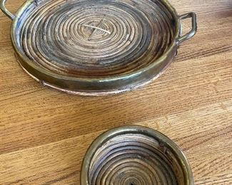 Bamboo and brass trays pair