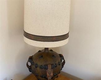 Rustic lamp leather and ceramic	45x17