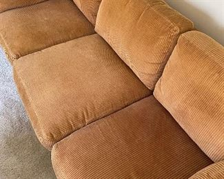 Design by directional tan corduroy couch #2 of 2	78x35x34	HxWxD