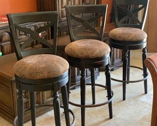 3pc Swivel Barstools Counter Height Chairs	45x18x20in seat height: 31in	HxWxD