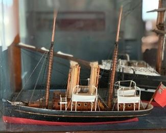 2  sail boats in glass show case 1800's