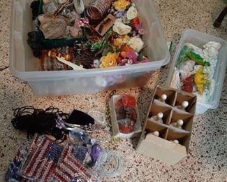 Tub of Assorted flea market merchandice - Bells, dinosaurs, rocks