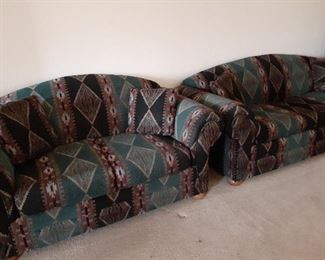 Southwest-style sofa and love seat, excellent condition