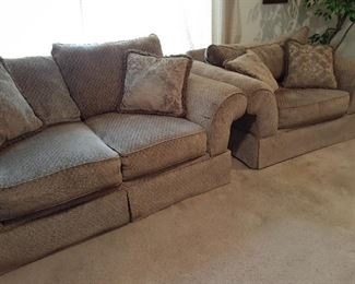 Excellent condition three-piece over-stuffed living room set, loveseat & chair shown
