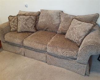 Excellent condition three-piece over-stuffed living room sofa shown