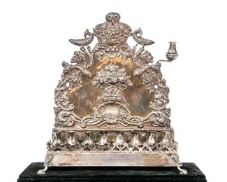 Eastern European Repoussed Silver Bench Form Menorah