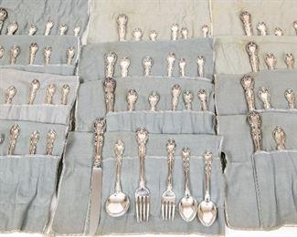 "Gorham Sterling Silver Flatware For 12 In ""Melrose"" Pattern"