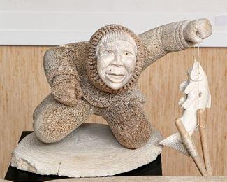 Whale Bone Fisherman Sculpture With Black Pedestal Base