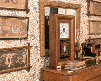Antique sugar chest, samplers, clocks, books, folk art (stagecoach)
