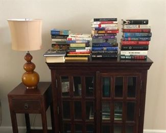 All wood bookcase.  Side table and lamp sold separately.