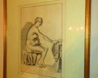 18th c. Italian Engraving of A Seated Nude