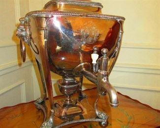 Plated Hot Water Urn with Lion Head Handles. 1st Quarter of the 19th c.