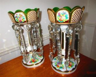 Pair of Victorian Enameled Luster's