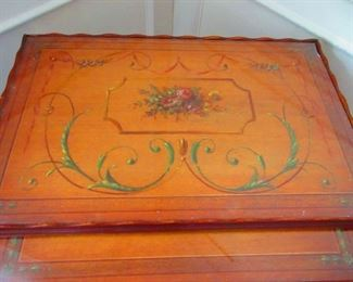 Detail of Sheraton Style Nesting Tables with Hand Painted Tops