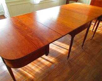 Antique American Sheraton Three Part Dining Table in Cherry