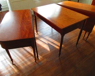 Antique American Sheraton Three Part Dining Table in Cherry (Shown separated and closed)