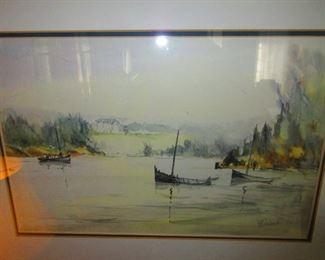 Harbor Scene Watercolor