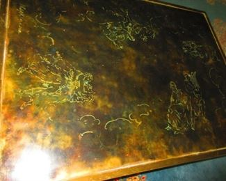 Etched Bronze Zodiac Coffee Table by Philip and Kelvin La Verne, 1960-1965