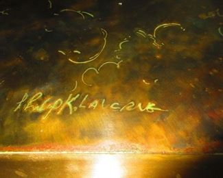 Signature on Etched Bronze Zodiac Coffee Table by Philip and Kelvin La Verne, 1960-1965