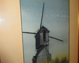 Artist Signed Watercolor of Windmill
