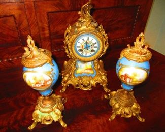 French Gilded Regule Clock Set With Porcelain Inset Panels