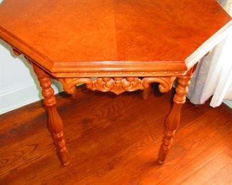 Antique Octagon Table with Hand Carving