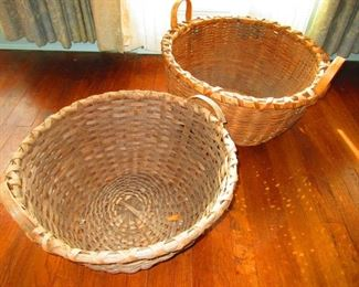 Large Antique Gathering Baskets with Wooden Handle (possibly Native American)