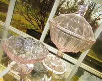 American Pressed Glass Compote and Dish