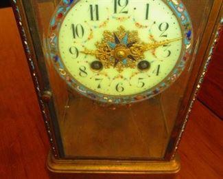 Antique French Champleve Enamel & Brass Crystal Regulator Mantle Clock
