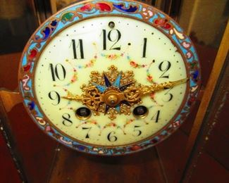 Detail of Face of Antique French Champleve Enamel & Brass Crystal Regulator Mantle Clock