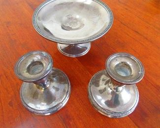 Sterling Candle Holders & Footed Dish
