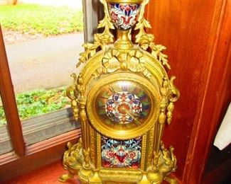 French Gilded Bronze and Champleve Enamel Mantle Clock Ca. 1900