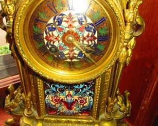 Detail of French Gilded Bronze and Champleve Enamel Mantle Clock Ca. 1900