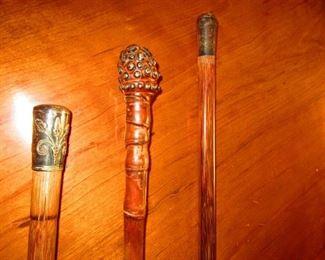 Sterling Handled and Embellished Walking Sticks