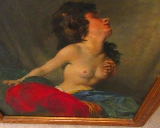 Oil on Canvass Nude Gypsy by Miklos Mihalovits 1888-1960