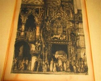 Engraving - Cathedral - Signed: L. Rosenfield