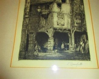 16thc. Half Timber Building - Signed: L. Rosenfield