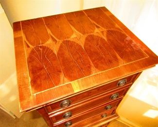 Detail of 19th c. English Jewelry Cabinet with Oyster Veneer