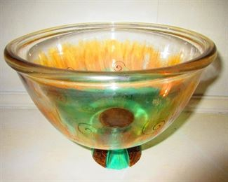 Enameled Footed Bowl