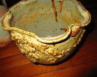 Studio Pottery Planter with North Wind Faces