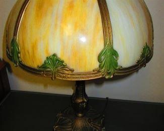 Slag Glass Art Deco Lamp