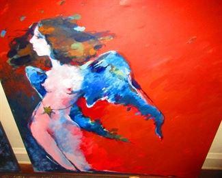 Tekavic - Oil on Canvas of Winged Nude