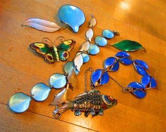 Danish Enameled Sterling Jewels